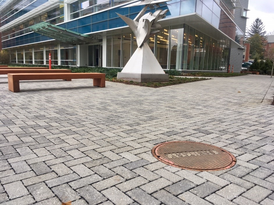 Porous concrete pavers outside the new Engineering and Science Building