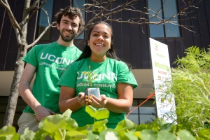Students from EcoHouse and Spring Valley Farm hand out potted plants during the university's Earth Day celebration along Fairfield Way on April 22, 2015. (Peter Morenus/UConn Photo)